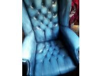 Chesterfield Blue Wing Back Leather Armchair Swivel Recliner