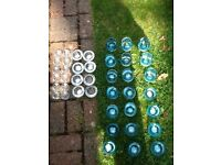 12 small clear glass tea light holders used for wedding
