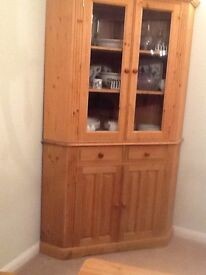 Pine Corner Cupboard. - upper section with glass panels