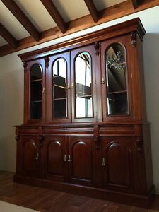 SOLID HARDWOOD FLAME MAHOGANY VICTORIAN STYLE BOOKCASE DISPLAY CABINET Casuarina Kwinana Area Preview