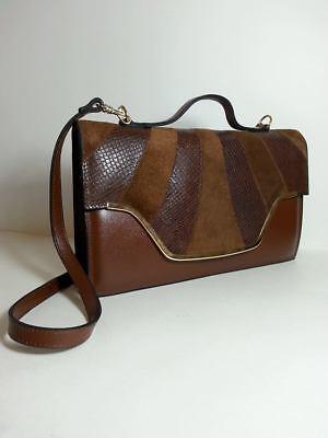CREACIONES  ESEGE FASHION Women's BROWN /TAN LEATHER Handbag MADE IN ARGENTINA