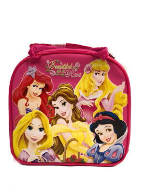 Disney Princesses Hot Pink Lunch Bag with Water Bottle Shoulder Strap