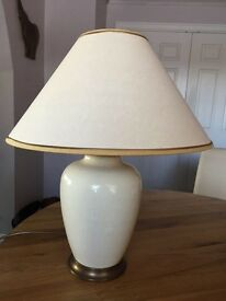 Valsan Cream Crackle Glaze Vase Lamp and Shade