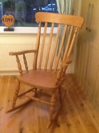 SOLID PINE ROCKING CHAIR, EXCELLENT CONDITION, VERY STURDY & HEAVY