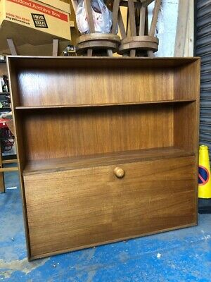 Vintage Retro Writing Bureau Desk Cupboard Shelves Brown NEED TLC