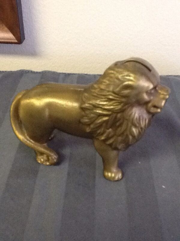 Solid Brass Vintage Lion Penny Still Bank Toy