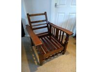 Antique Oak Reclining Planter's / Steamer Chair Frame.