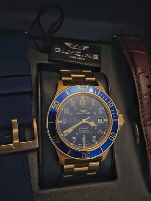 Glycine GL0082 Combat Sub 42mm Blue Dial With Gold Automatic Men's Wristwatch