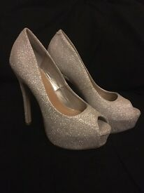 Brand New Size 5 sparkly silver heels
