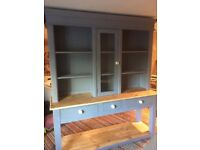 large contemporay dresser painted in grey with natural waxed pine