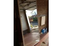 2 sliding mirror wardrobe doors each770mm x 2230mm with top and bottom track 1500mm long