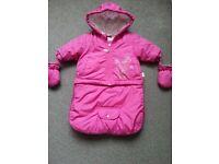 Pink snowsuit / winter suit, converts into a little jacket, with seatbelt hole 0-3 months