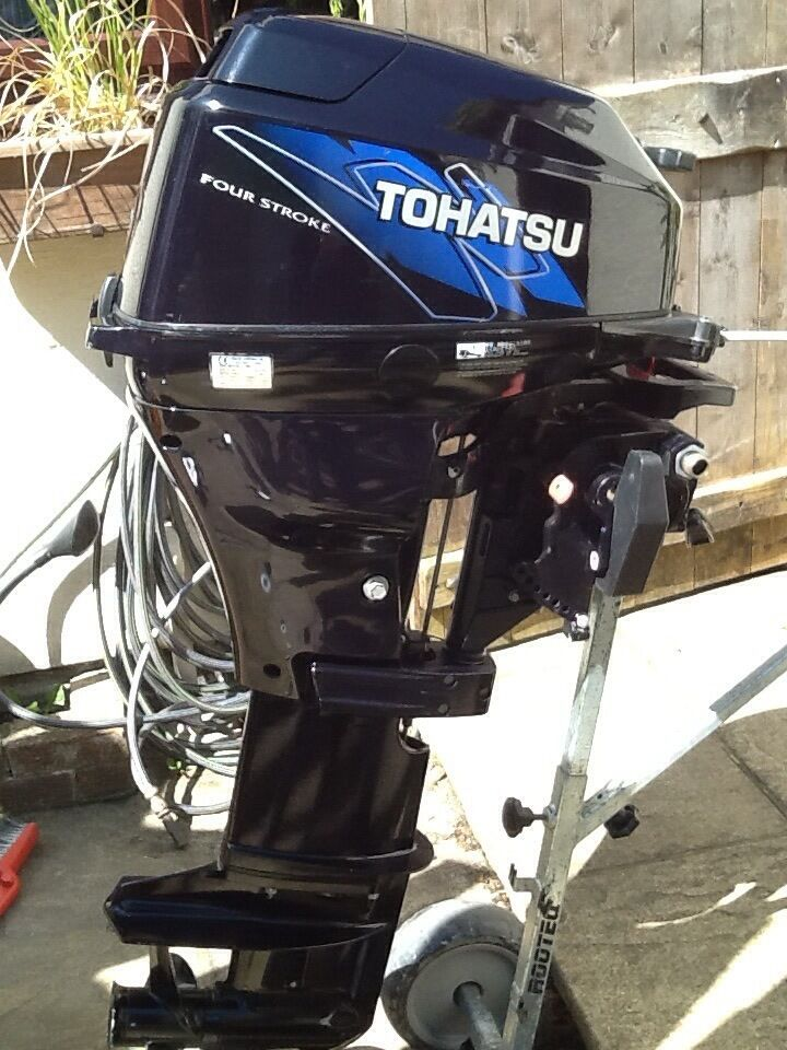 Tohatsu 15hp outboard enginein Wadebridge, CornwallGumtree - Tohatsu four stroke engine 15hp, 2009, long shaft, very little use, remotes, manual start, fuel tank with lead. I bought this to convert my Orkney from tiller to remote steering, but someone bought the boat before I could convert! Hence on the market...