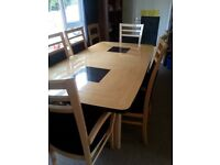 Italian Dining set, extendable table, 6 chairs and cabinet