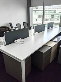 FREE SAME-DAY DELIVERY - 6 Person White Office Bench Desk
