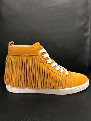 NIB Christian Louboutin Frangine Fringe Yellow Suede Flat Hightop Sneaker 40.5