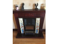 Mahogany fire surround/electric fire