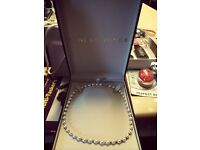 Earnest Jones Pearl Necklace 9ct white gold