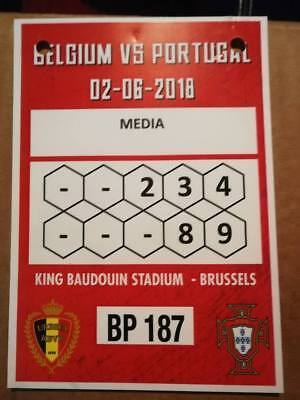 Accréditation Card Ticket : Belgique - Portugal 02-06-2018 Amical World Cup 2018