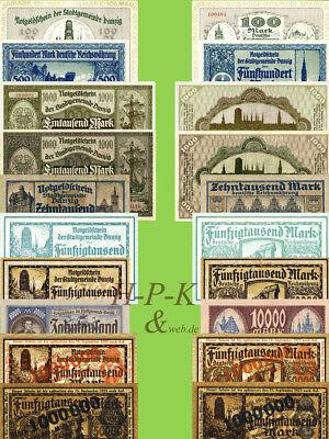 (Reproduktionen !)  Banknoten Stadtgemeinde Danzig 1922 - 1923