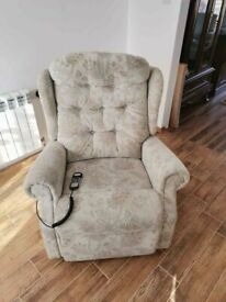 CAN DELIVER - LARGE DUAL MOTOR CELEBRITY RISE AND RECLINER CHAIR IN VERY GOOD CONDITION - NEW TYPE