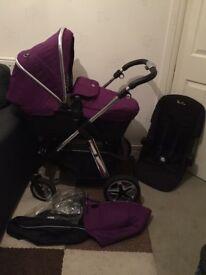 Silver Cross Damson / Purple Pioneer With Black Car Seat