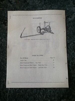 New Reprint Parts Manual For A New Idea No. 20 Mower