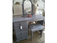 Reduced Price - Re-new Dressing Table, Mirror and Stool.