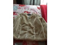 Ladies cream fake fur jacket, size14, tags still attached