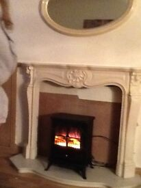 Marble fire surround and hearth (no back) and marble mirror for sale with or without fire