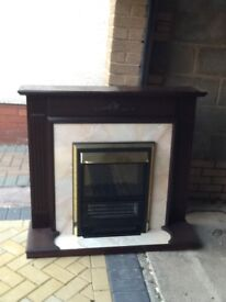 Mahogany electric fire suite