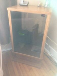 Cabinet stereo with 2 tall speakers.