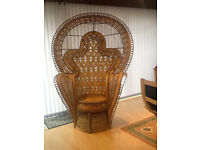 Large Peacock cane chair - good condition