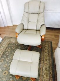* Almost new * Designer Italian leather Swivel Relaxer Chair With Foot Stool In Cream £650 RRP