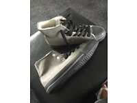 BRAND NEW FAUX GREY FUR LINED HIGH TOP TRAINERS SIZES 4 - 7