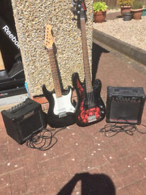 Jaxville Electric Bass guitar with meridian stage pro ak15b amplifier (no power lead) £20