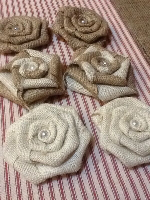 6 Burlap Flowers Natural, Ivory and Swirl Pearl Rustic Outdoor Wedding Country