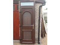 Upvc wood grain double glazed door with top window