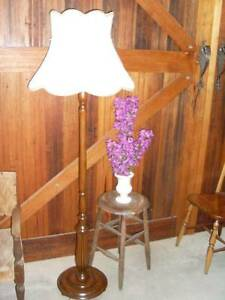 #1- Vintage Wooden Timber Floor Lamp Very heavy Base Warrandyte Manningham Area Preview