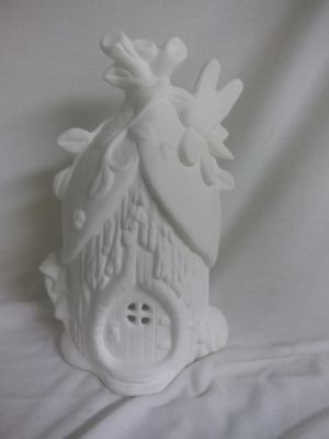 "Dragonfly Villa Fairy House 8"" x 5"" Ceramic Bisque, Ready To Paint"
