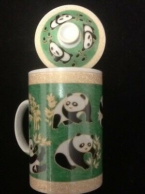 Chinese Porcelain Tea Cup Handled Infuser Strainer with Lid 10 oz Panda....???!!