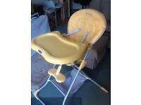 GRACO yellow high chair. Fully washable, removeable tray.