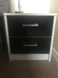2 Black and White Bedside Cabinets