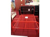 Harper red Metal Small Double 4ft Kids Bed Frame brand new