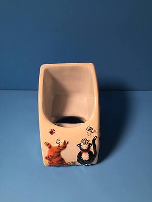 Ceramic Cell Phone Holder Caddy Cats Butterflies Tabby Orange Paw Prints