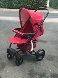 NEW HAUCK MA,IBU PRAM PUSHCHAIR SUITABLE FROM BIRTH FLAT FOLD AND LIGHTWEIGHT IN CHILLI RED