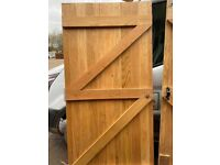 Oak hardwood timber ledge & brace garden gates with fitted hinges