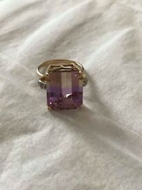Ametrine and Diamond 10k 9k gold ring band size J (5) small Amethyst Citrine