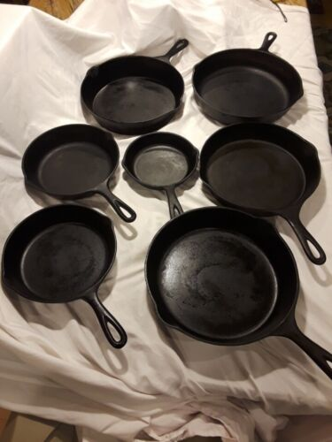 Vintage Cast Iron cookware Lot of (7) pans Wagner, National, Lodge, Wapak