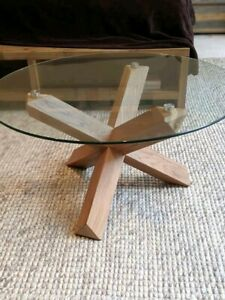 BRAND NEW Glass Coffee Table Solid Oak Legs Black/Natural